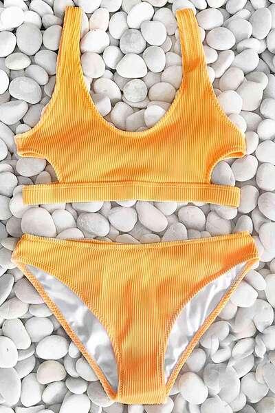Angelsin - Angelsin Özel Kumaş Şık Sarı Bikini Takım (1)