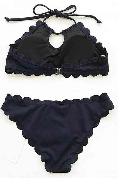 Angelsin - Angelsin Siyah Özel Kumaş Tankini Bikini Takım (1)
