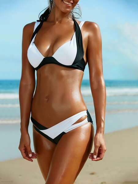 Angelsin - Siyah Beyaz Özel Tasarım Bikini Takım (1)