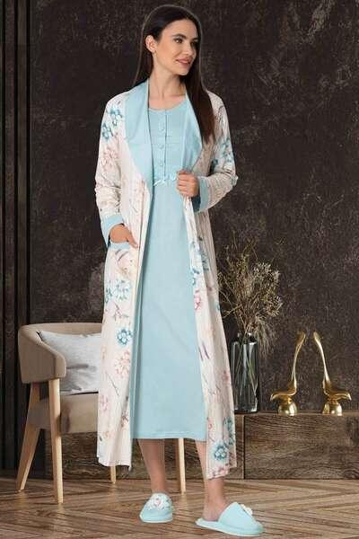 Mecit Pijama - Çiçek Desen Sabahlıklı Gecelik Takım (1)