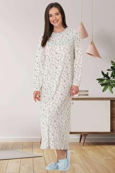 Mecit Pijama - Çiçek Desenli Büyük Beden Sabahlıklı Gecelik Takımı (1)