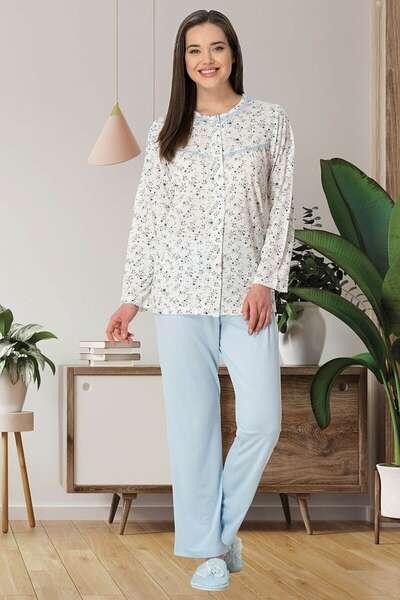 Mecit Pijama - Çiçek Desenli Büyük Beden Sabahlıklı Pijama Takımı (1)