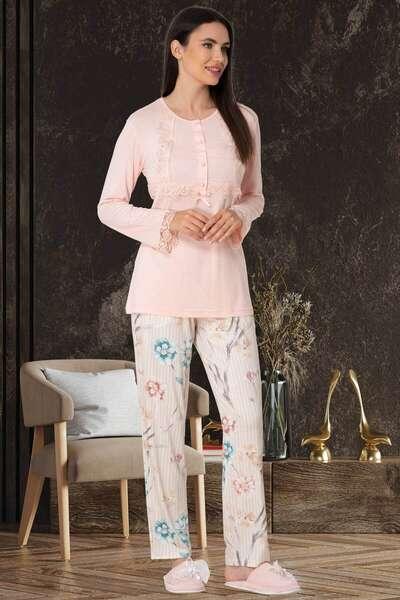 Mecit Pijama - Çiçek Desenli Modal Kadın Pijama Takımı (1)
