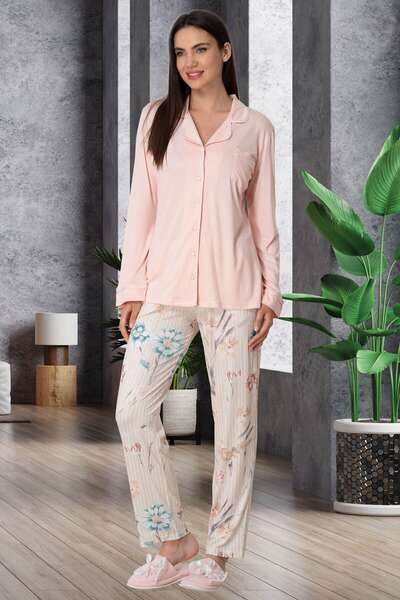 Mecit Pijama - Çiçek Desenli Önden Düğmeli Modal Pijama Takımı (1)