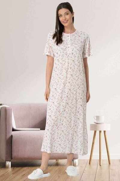 Mecit Pijama - Çiçekli Büyük Beden Kısa Kollu Gecelik (1)