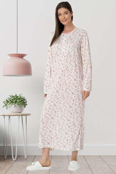 Mecit Pijama - Çiçekli Büyük Beden Uzun Kollu Gecelik (1)