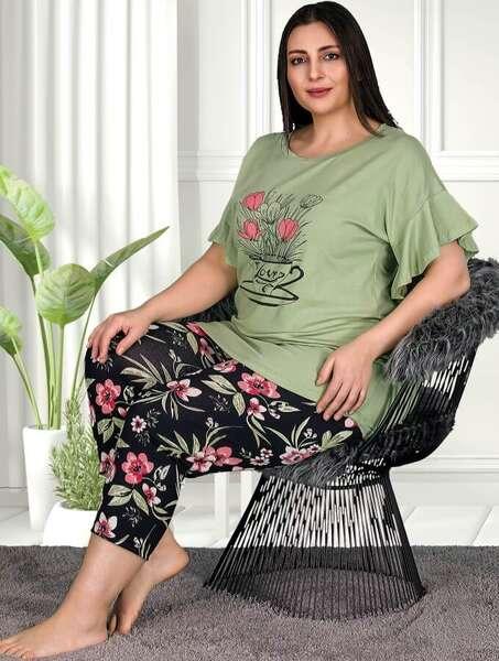 Lady - Çiçekli Şık Büyük Beden Şık Yeşil Kapri Takım (1)