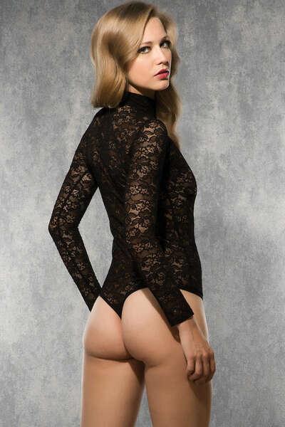 Doreanse - Dantel Boğazlı Avangard Kadın Body Suit (1)