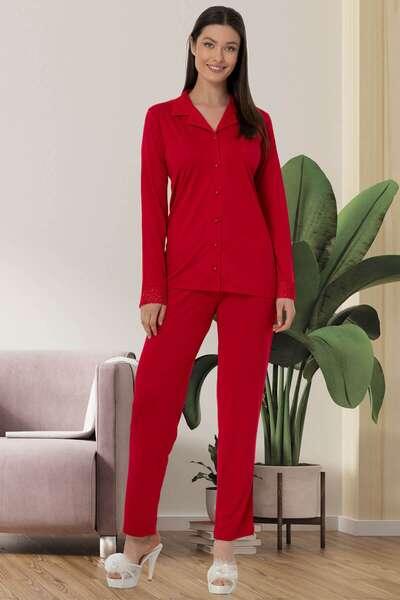 Mecit Pijama - Dantelli Önden Düğmeli Pijama Takımı (1)