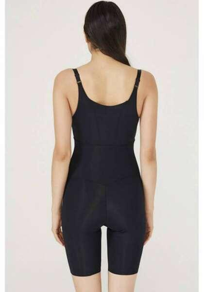TEN - Siyah Dekolteli Uzun Vücut Korsesi / Tüm Gün Giyilebilir (1)