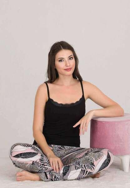 Lady - Desenli Düğmeli Kadın Pijama Atlet 3 lü Takım (1)