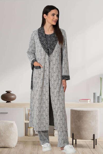 Mecit Pijama - Desenli Örme Kumaş Kadın Sabahlık (1)