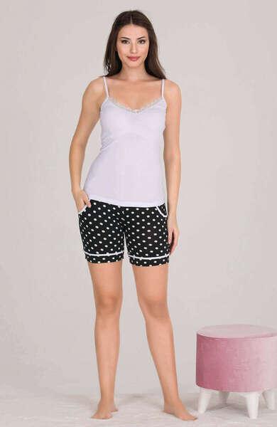 Lady - Düğmeli Kadın Şort Pijama Atlet 3 lü Takım (1)