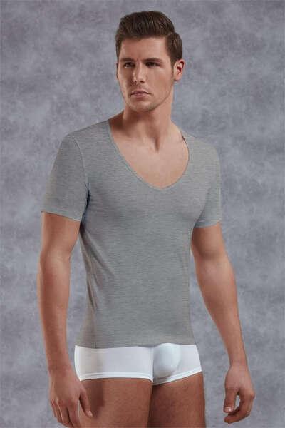 Doreanse - Erkek Modal Derin V Yaka Kısa Kol T Shirt (1)