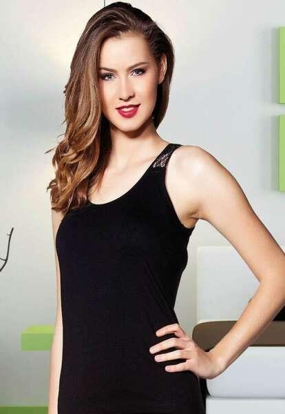 Lady - Geniş Askılı Sırtı Çiçek Güpür Kadın Atlet (1)