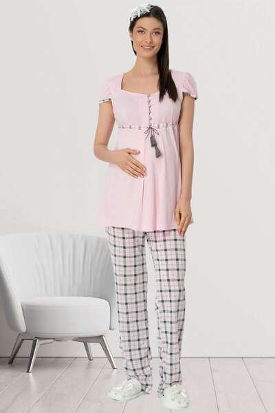 Mecit Pijama - Hamile Lohusa Ekoseli Şık Spor Pijama Takımı (1)