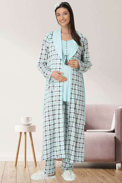 Mecit Pijama - Hamile Lohusa Ekoseli Sabahlıklı Pijama Takımı 3lü Set (1)