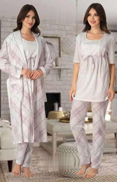 Effortt - Hamile Lohusa Sabahlıklı Pijama Takım 3lü Set (1)