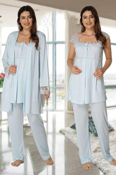 Effortt - Hamile Lohusa Sabahlıklı Pijama Takımı (1)