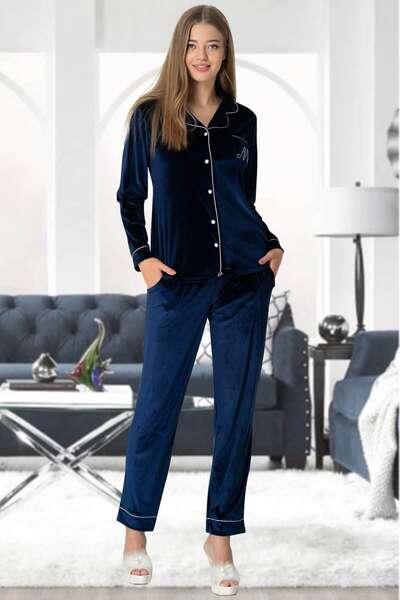 Mecit Pijama - Kadife Kadın Pijama Takımı (1)