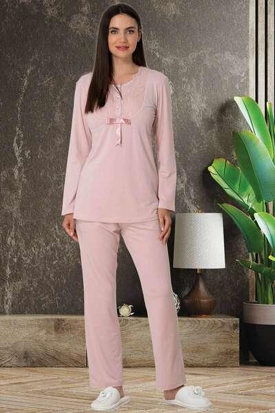 Mecit Pijama - Kadın Pamuklu Uzun Kollu Pijama Takım (1)