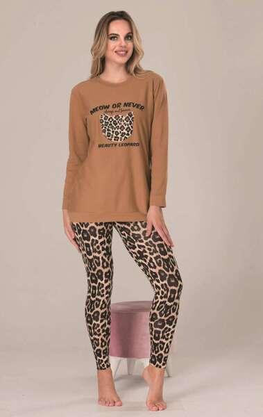 Lady - Kahverengi Uzun Kollu Kadın Pijama Takımı (1)