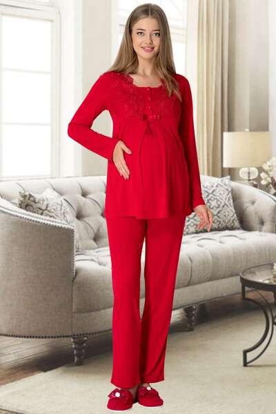 Mecit - Kırmızı Kadife Sabahlıklı Hamile Lohusa Pijama Takımı (1)