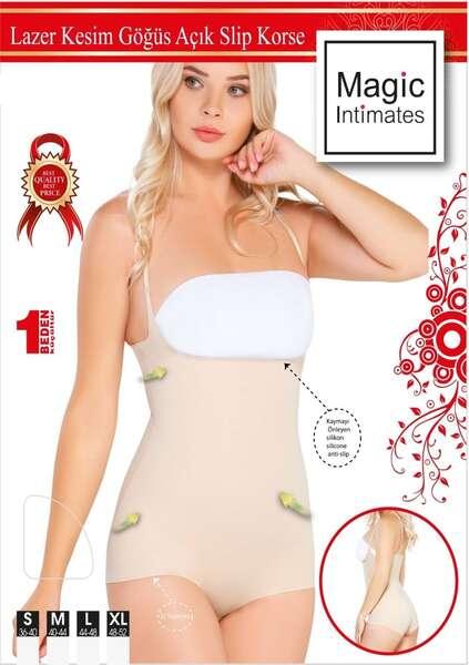 Emay - Lazer Kesim İz Yapmaz Göğüsü Açık Askılı Body Kadın Korse (1)