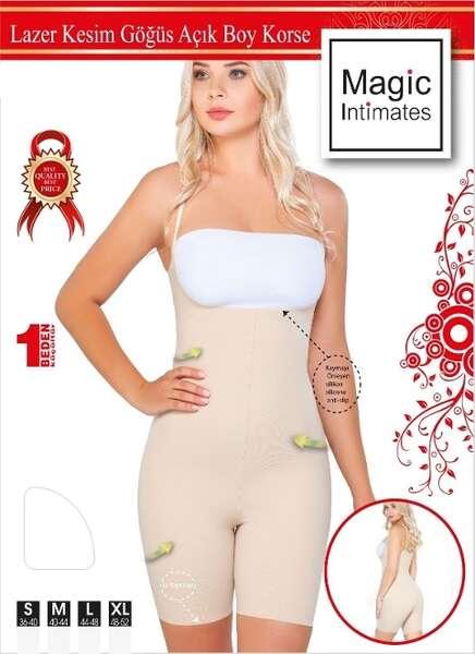 Emay - Lazer Kesim İz Yapmaz Göğüsü Açık Askılı Vücut Kadın Korse (1)