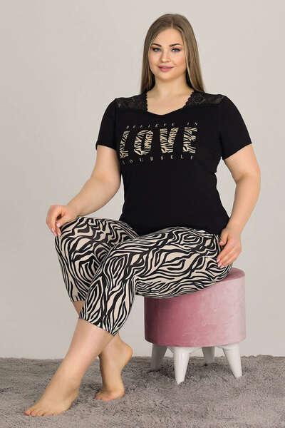 Lady - Love Büyük Beden Battal Kadın Kapri Pijama Takım (1)
