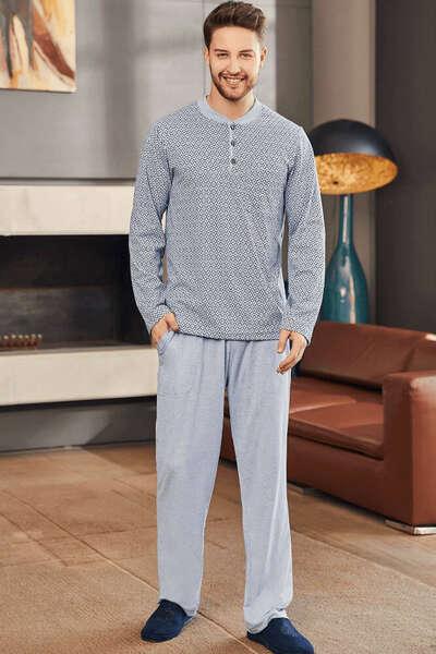 Mavi Büyük Beden Erkek Pijama Takım