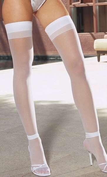 Merry See - Beyaz Dantelsiz Jartiyer Çorabı (1)