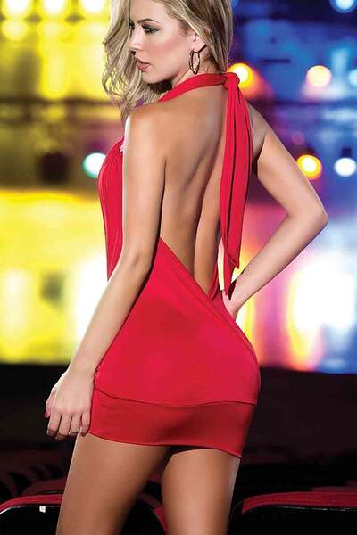 Merry See - Kırmızı Dekolteli Mini Elbise (1)