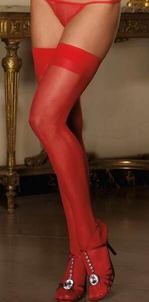 Merry See - Kırmızı Dantelsiz Jartiyer Çorabı (1)
