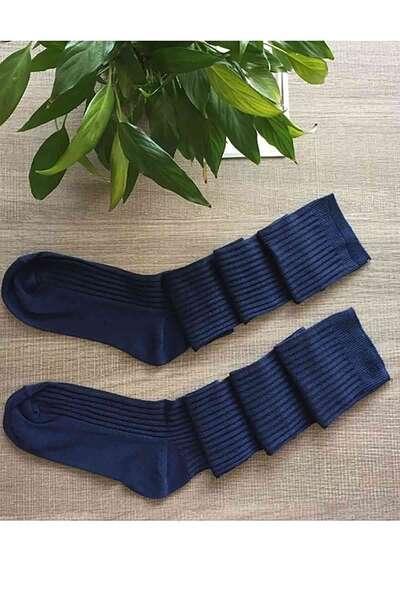 Merry See - Lacivert Parfümlü Örgü Diz Üstü Çorap (1)