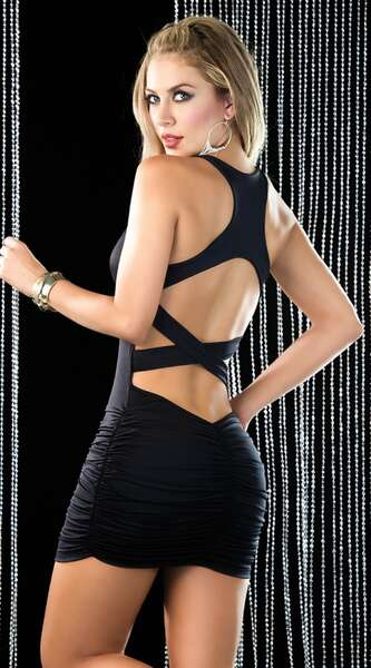 Merry See - Siyah Arkası Çapraz Şık Mini Elbise (1)