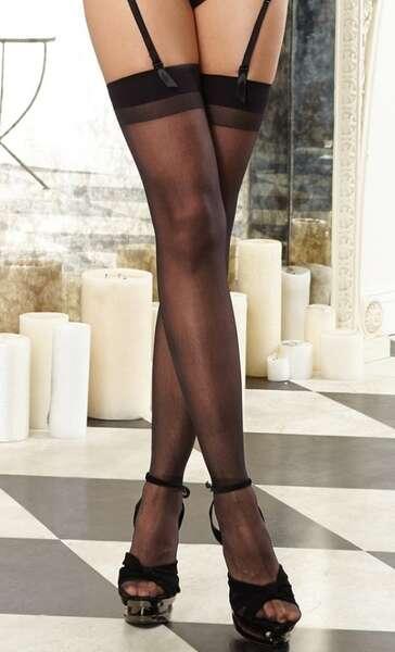 Merry See - Siyah Dantelsiz Jartiyer Çorabı (1)