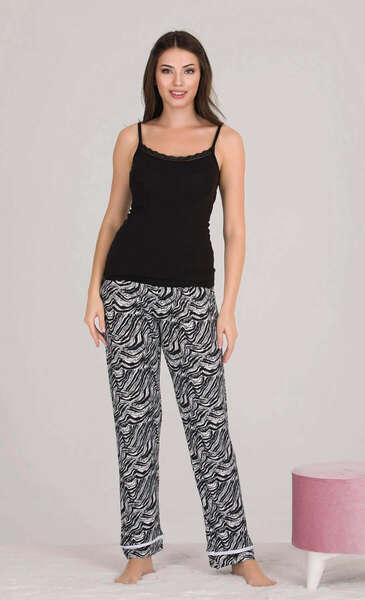 Lady - Siyah Önden Düğmeli Kadın Pijama Atlet 3 lü Takım (1)