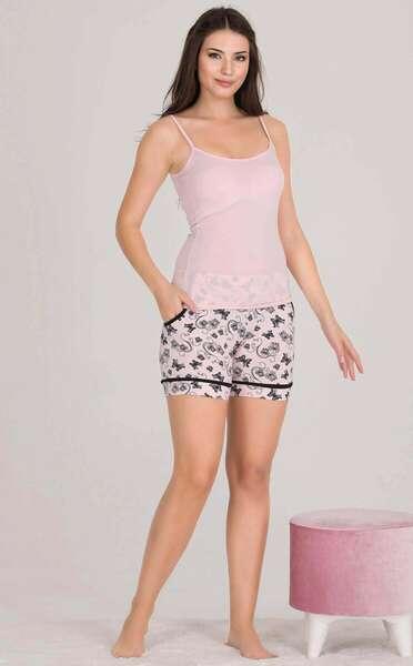 Lady - Önden Düğmeli Kadın Şort Pijama Atlet 3 lü Takım (1)