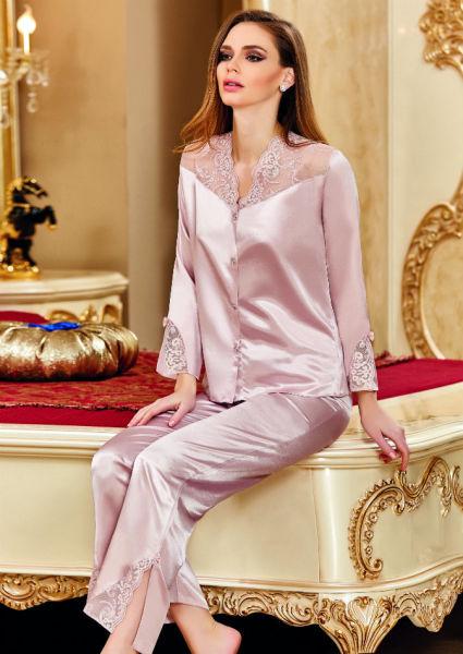 Nurteks - Önden Düğmeli Saten Pijama Takım (1)