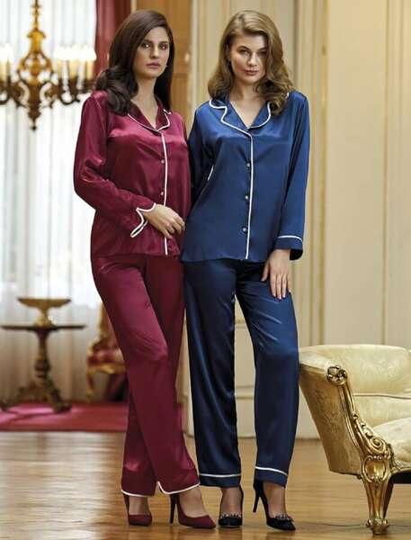 Nurteks - Önden Düğmeli Şık Saten Pijama Takım (1)