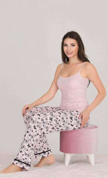 Lady - Pembe Düğmeli Kadın Pijama Atlet 3 lü Takım (1)