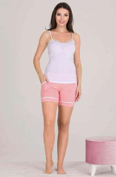 Lady - Pembe Düğmeli Kadın Şort Pijama Atlet 3 lü Takım (1)