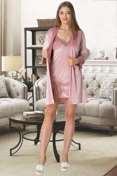 Mecit Pijama - Pembe Kadife İşlemeli Kısa Gecelik ve Sabahlık Takım (1)