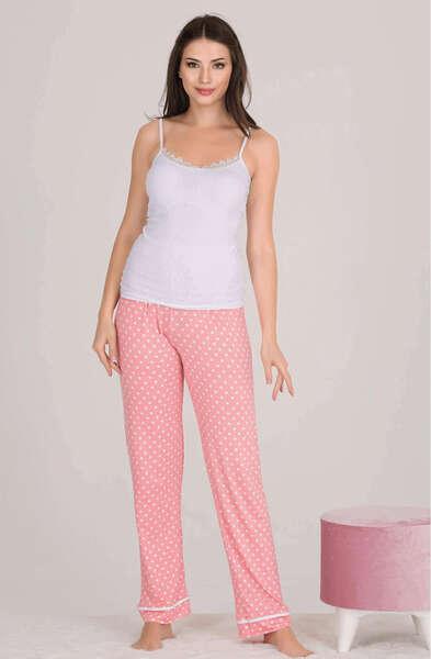 Lady - Pembe Puantiyeli Düğmeli Kadın Pijama Atlet 3 lü Takım (1)