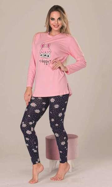 Lady - Pembe Uzun Kollu Çizgili Kadın Pijama Takımı (1)