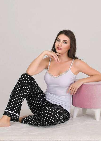 Lady - Puantiyeli Düğmeli Kadın Pijama Atlet 3 lü Takım (1)