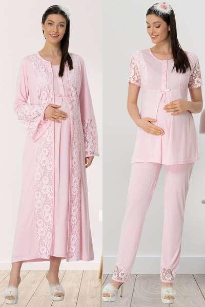 Mecit Pijama - Sabahlıklı Hamile Lohusa Gecelik Pijama Takım 4lü Set (1)