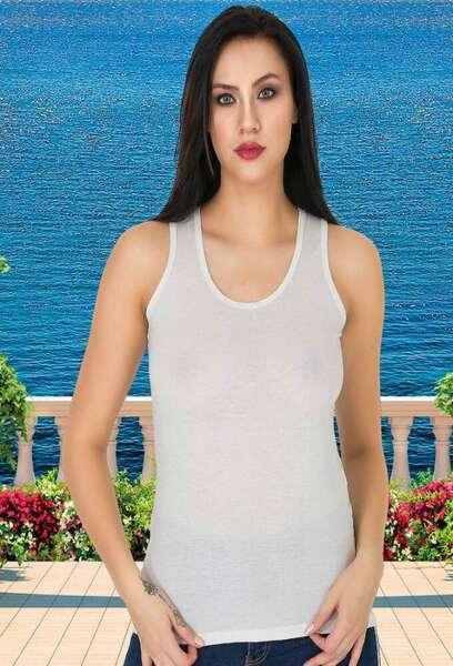 Lady - Sırtı Transparan Dantel Süslü Penye Atlet (1)