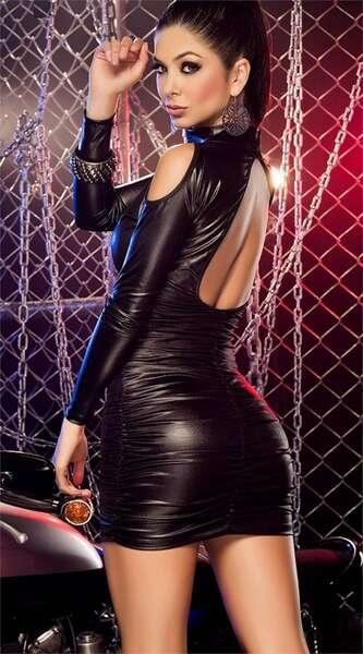 For Dreams - Siyah Deri Görünümlü Fantezi Elbise (1)